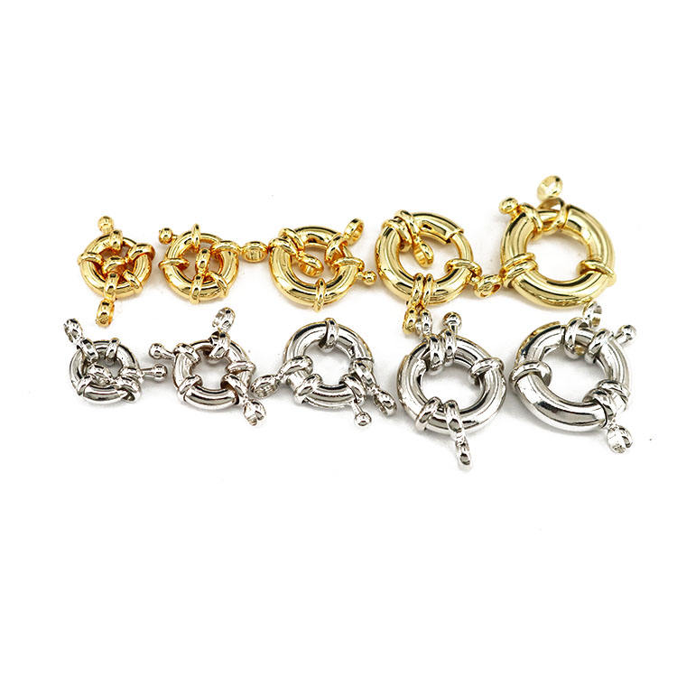 JF1311 Hot sale Good Quality Silver 18k Gold plated Round Spring Ring clasp Buckle for bracelet necklace making