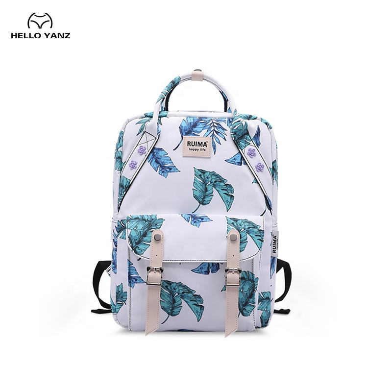 Oxford Female College Student Backpack Printed Banana Leaf Women's Backpack School Bags for College