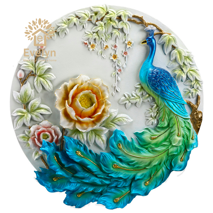 Relief Wall Hanging Animal Sculpture Art And Craft peacock figurines resin