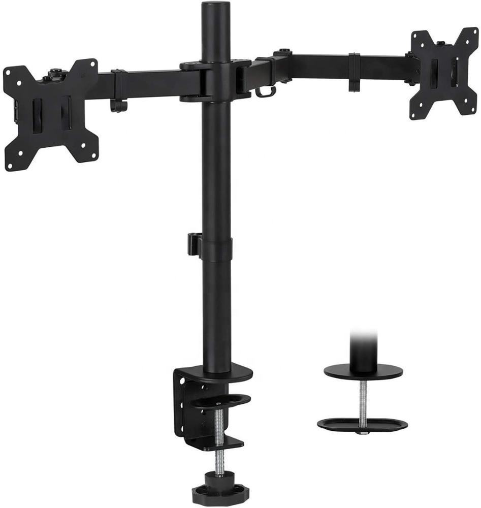 Gs [ Dual Monitor Stand ] Monitor Stand Computer Dual Monitor Mount | Double Monitor Desk Stand | 2 Heavy Duty Height Adjustable Arms Fit 2 Computer Screens