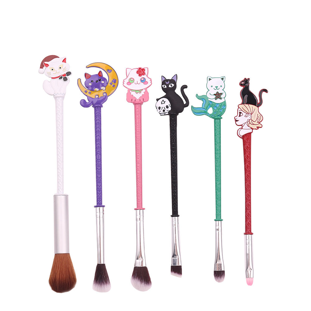 Cartoon Anime 6Pcs Harajuku Sailor Moon Luna Kat Mooie Cosplay <span class=keywords><strong>Party</strong></span> Oogschaduw Lip Make-Up Borstel
