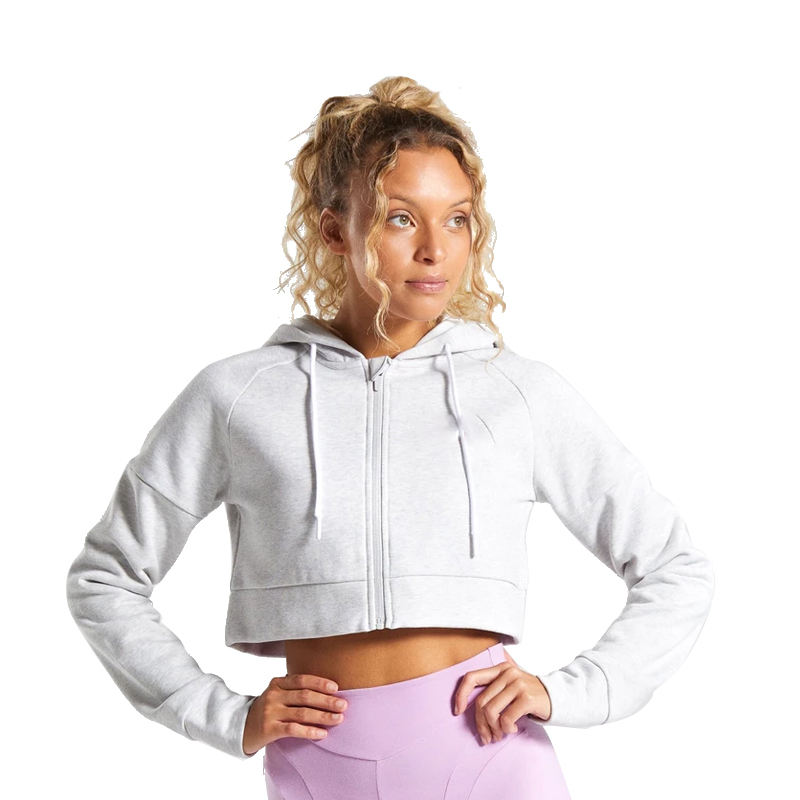 High Quality Custom Logo Cotton Long Sleeve Zip Up White Crop Top Women Hoodie For Gym