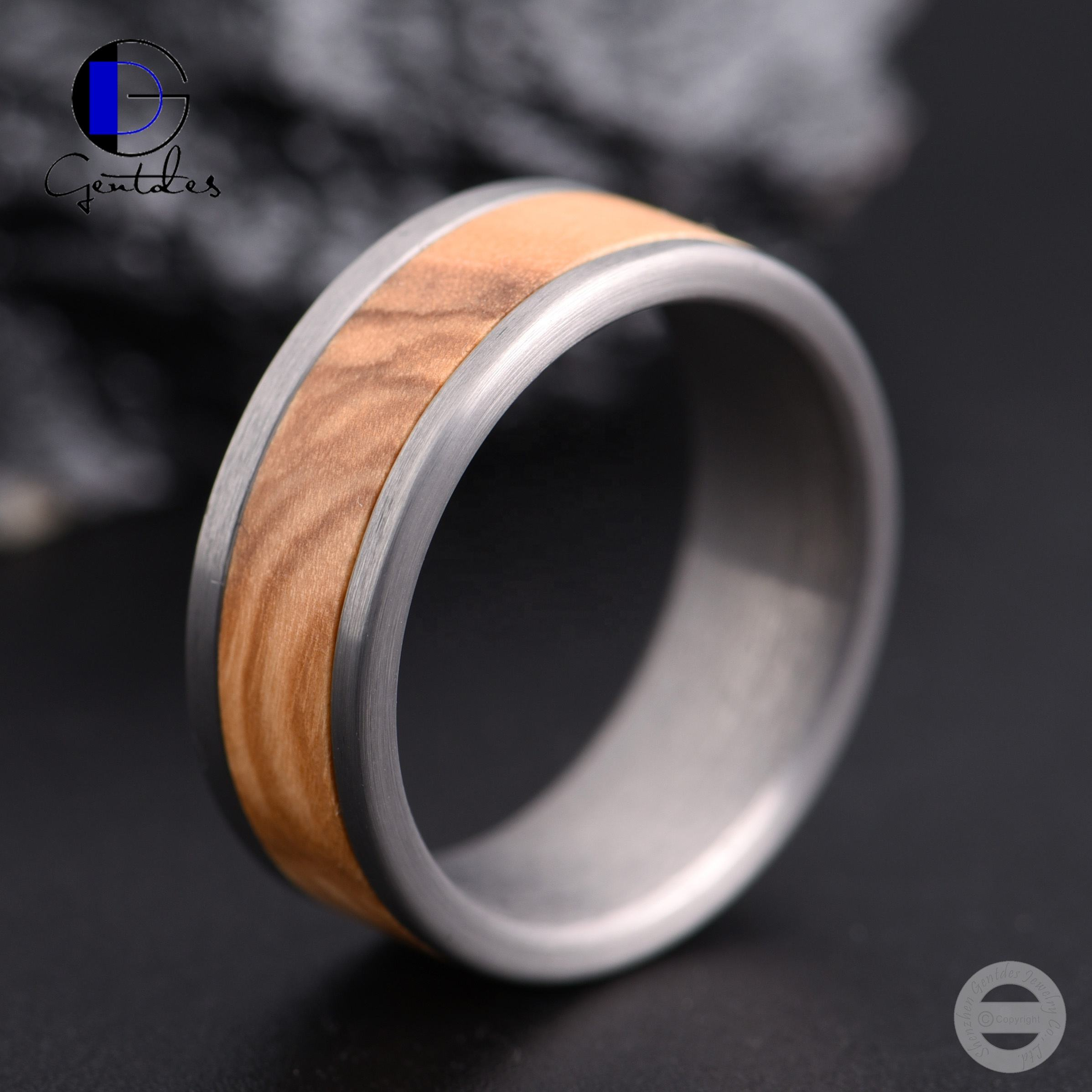 Gentdes Jewelry Brushed Tungsten Olive Wood Inlay Ring For Mens