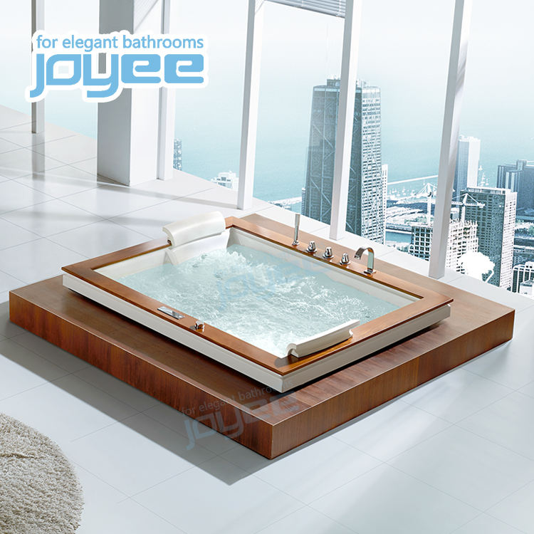 JOYEE Hotel Bathroom Square Rectangle indoor drop in freestanding wood edge Custom size bathtubs whirlpools