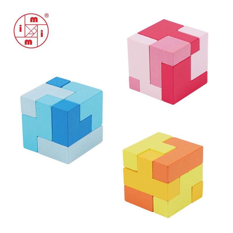 wooden educational toy wooden Soma cubes 3D wooden brain teaser puzzle