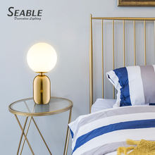 China factory nordic modern creative metal glass shade desk bedside reading table lamp for study