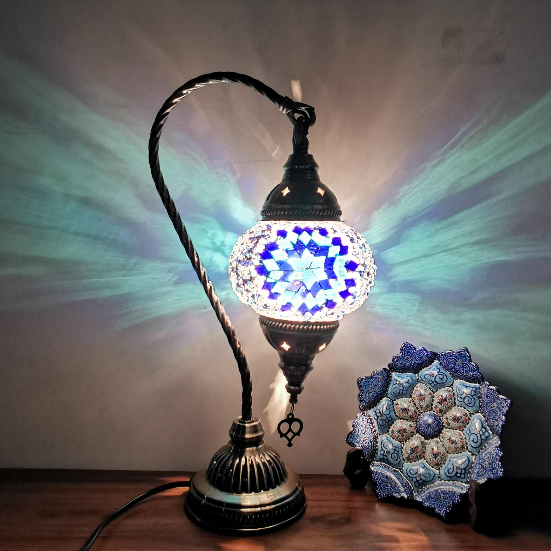 Turkish Lamp Stained Glass Art Mosaic Lamp Retro Hotel Table Arabic Night Lights lampara de mesa
