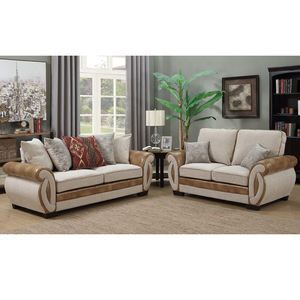 European Style white leather fabric sectional sofa set living room furniture