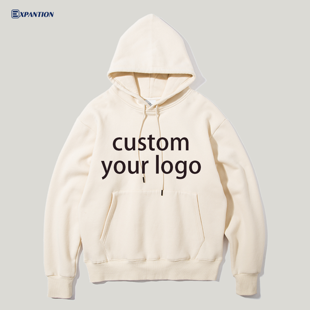 EXP Customizable Drop Shoulder Heavyweight Hoodie Sweatshirt Custom Printing Logo Blank Street Oversized Men Pullover Hoodie
