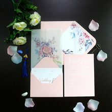 Elegant Blush Watercolor Translucent Wedding cards