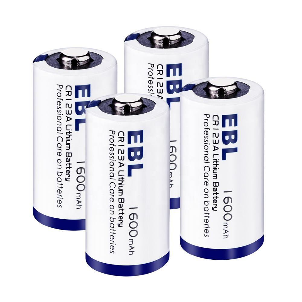 EBL 1600mAh Lithium CR123A 3V Batteries with Storage Case
