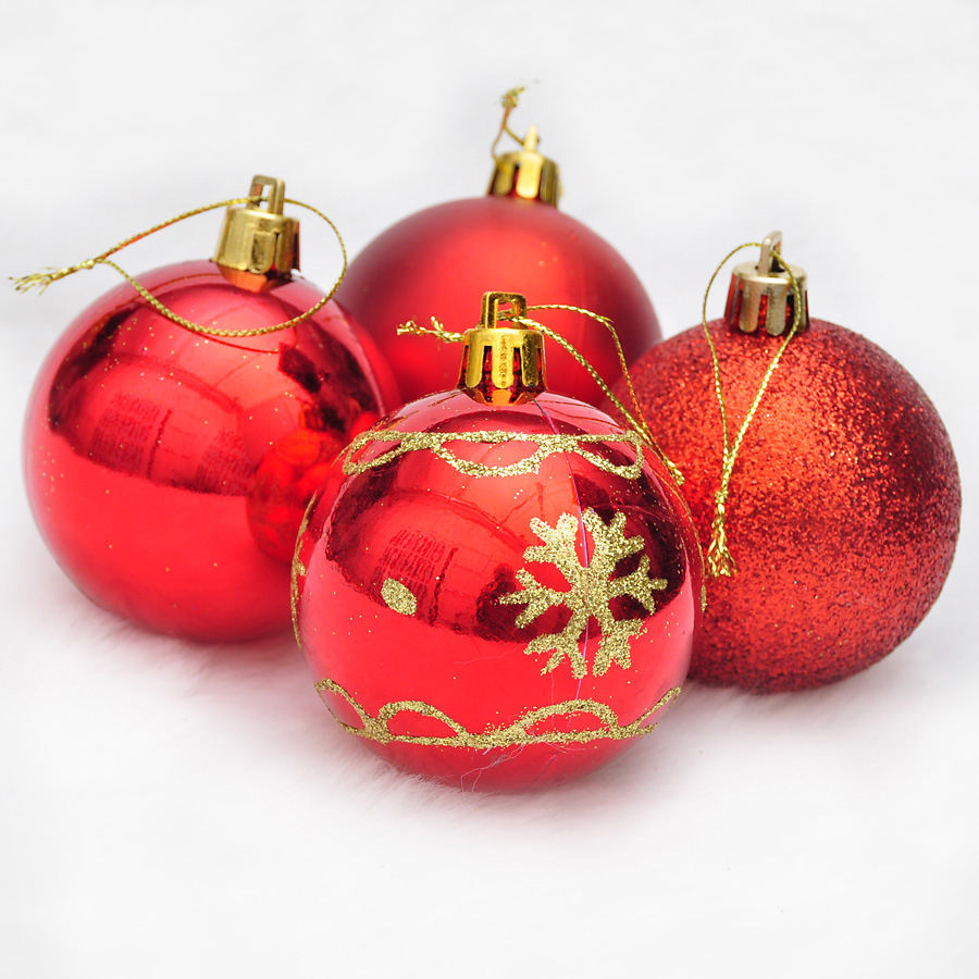 Tree decoration Shatterproof plastic ornaments Realistic red christmas ball with different patterns