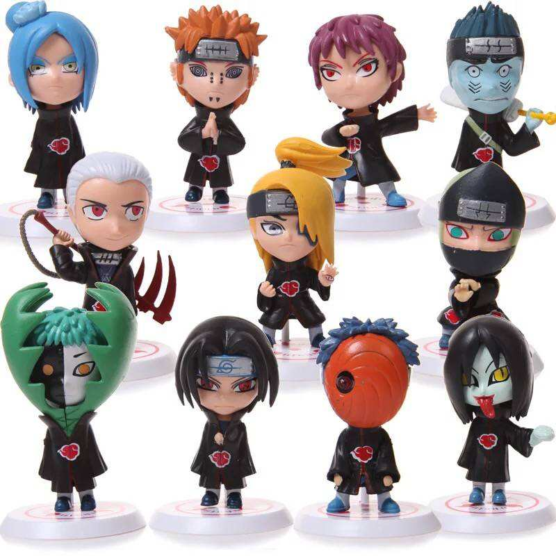 Mini Kunai Shippuden Naruto Statue Figurine Cartoon Cake Topper Akatsuki Trajes Anime Naruto Action Figure Toy