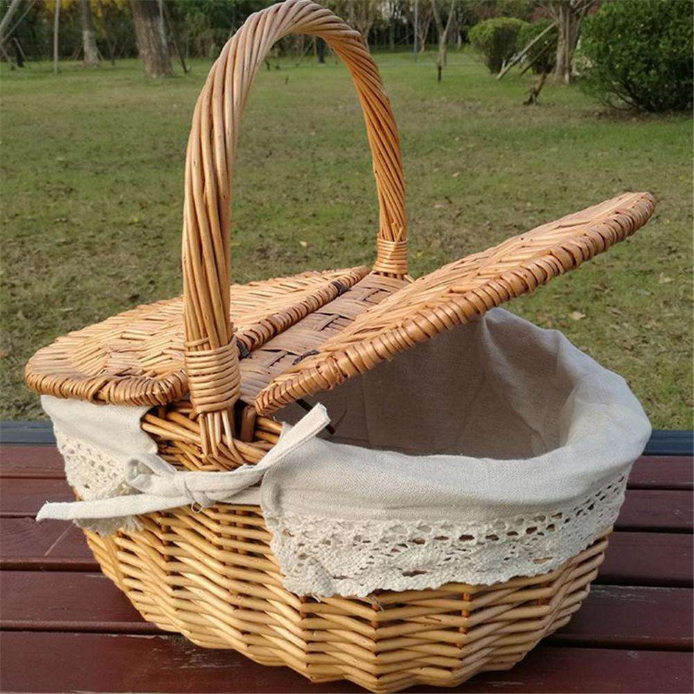 S/L Picnic Basket Hand Made Wicker Bags Camping Shopping Storage Hamper with Lid Picnic Food Basket Woven Fruit Storage Basket