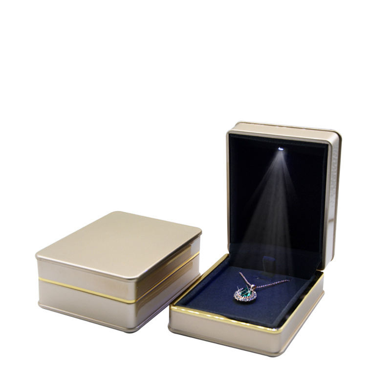 free shipping three colors jewelry gift shopping display LED light wedding ring box case