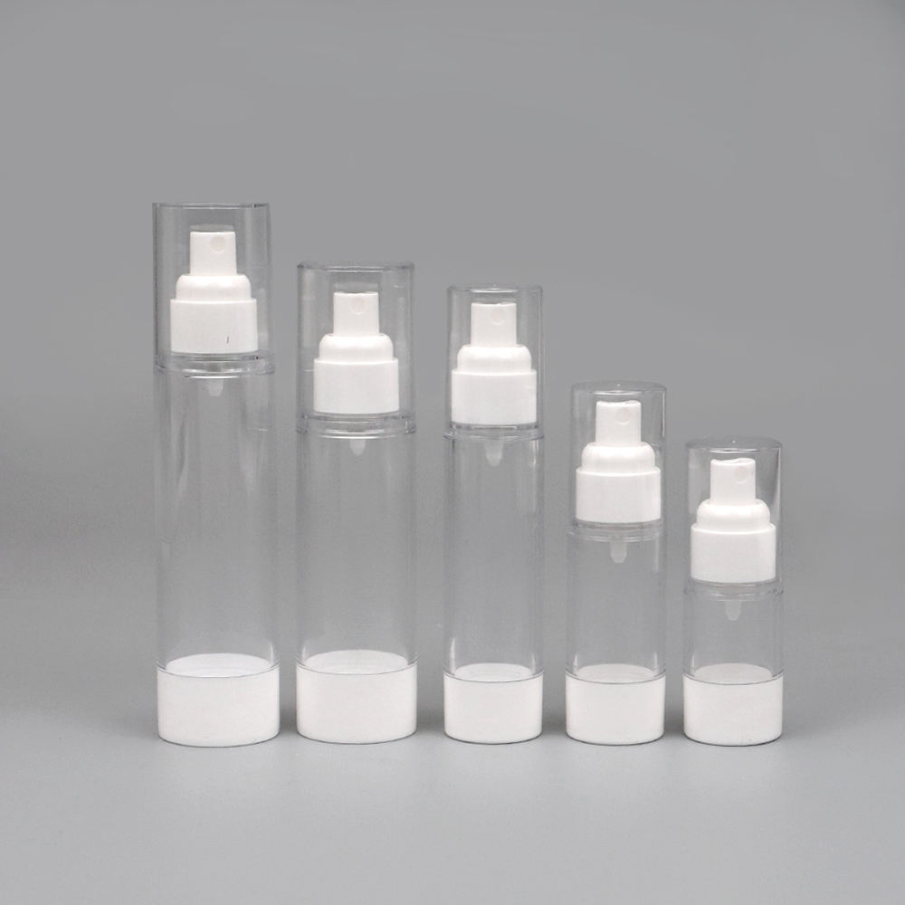 30/50/80ml transparent plastic cosmetic airless bottle with sprayer pump