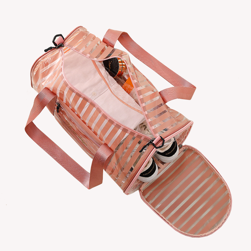 New arrival pink stripe travel transparent clear PVC duffel bag with shoe compartment