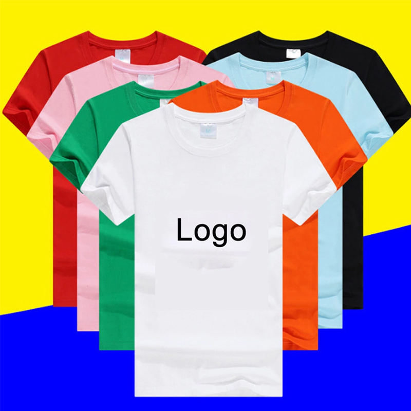 Mens blank custom logo casual cotton promotional crew regular short sleeve sublimation printing white t-shirt
