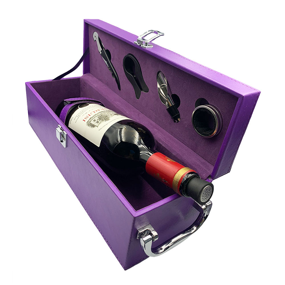 Gift Package for elders PU wine bottle box leather luxury and faux leather wine box and wine bottle box with accessories