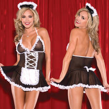 Women's French Maid Costume Sexy Black Halloween Fancy Dress