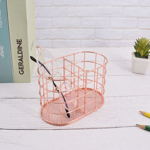 2020 Rose Gold Metal Wire Pen Holder For Desk Stationery Organizer