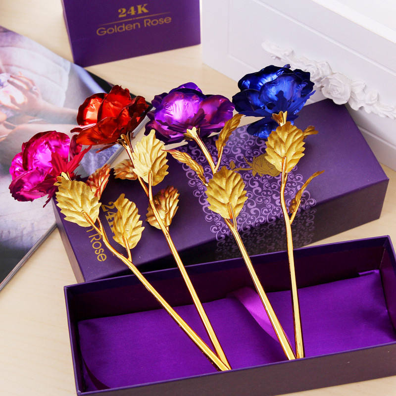 Artificial 24K Gold Foil Flower With Gift Box ValentineのDay Gifts Galaxy RoseとBoxes紙バレンタインデーのギフトのため
