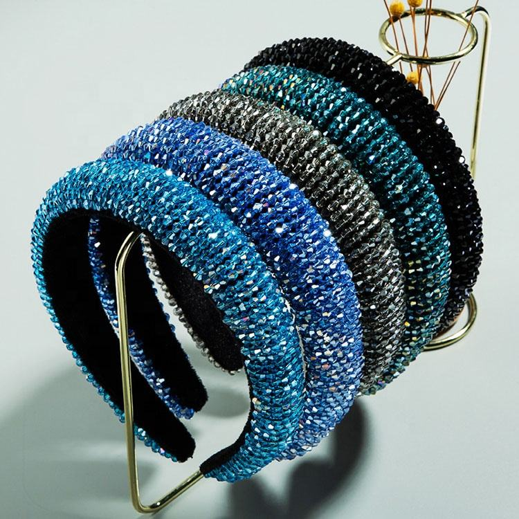 Luxury Glitter Padded Sponge Headband Hair Hoop Bridal Wedding Bezel Baroque Crystal Beaded Bling Headband