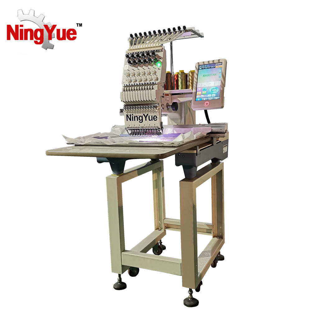 High speed portable 12 needles single head fabric cap embroidery machine factory in china for quilt