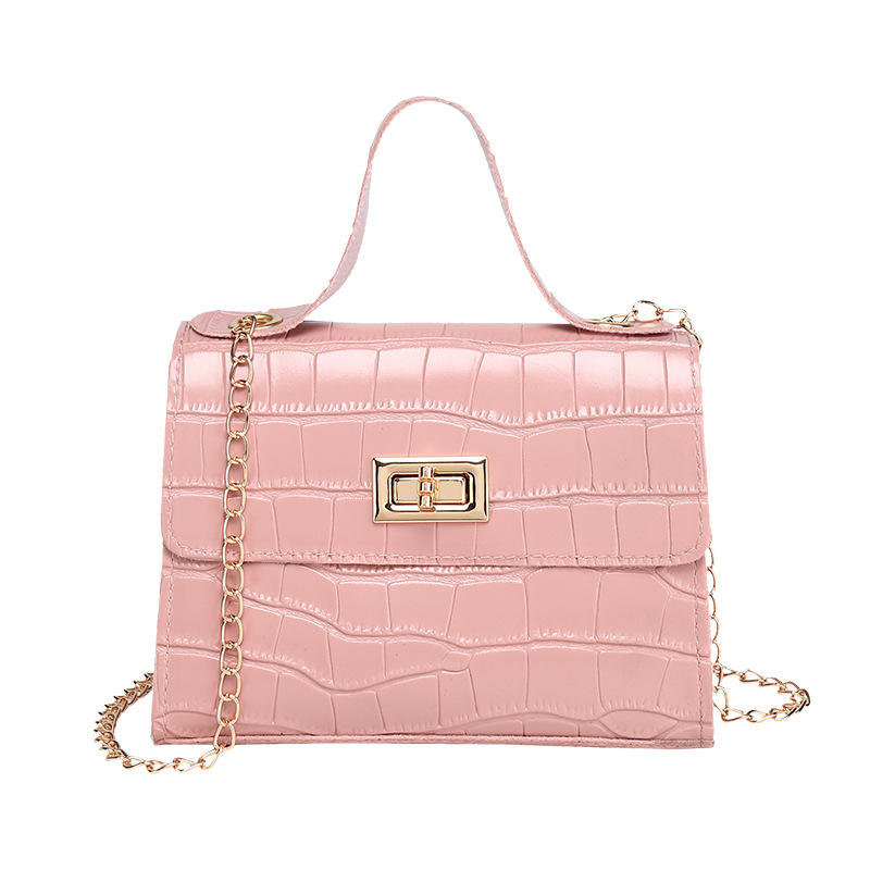 2020 new small PU Leather hand bag women shoulder bag simple style with chain handle for ladies and girls crossbody bags