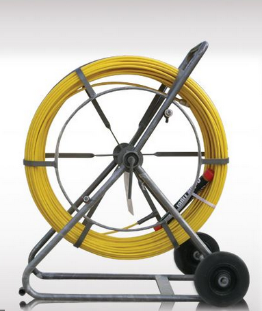Fibreglass threader with frame for helping the cable and other wire in underground pipe