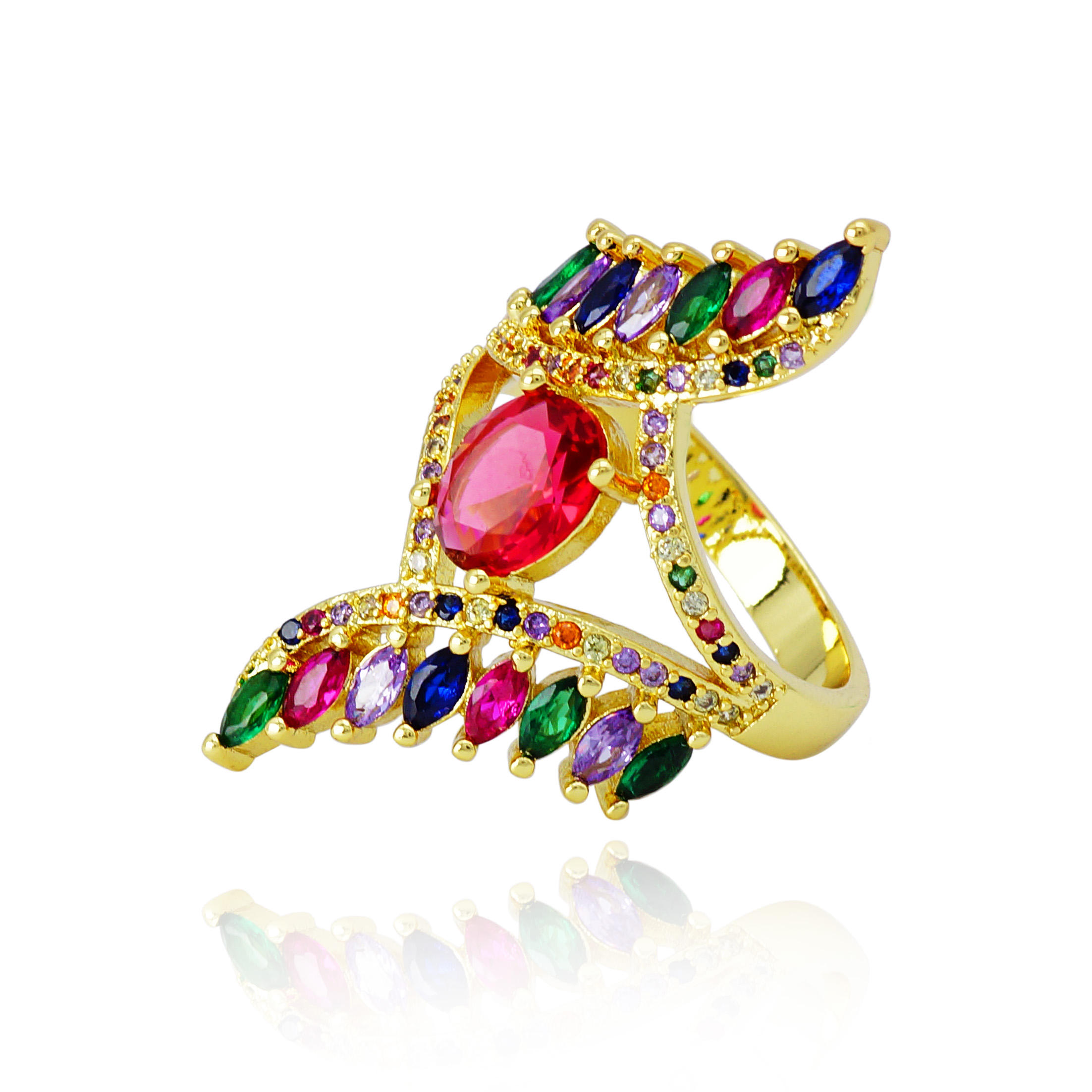 Bling Strass Gold Überzogene Bunte Zirkonia Ring 3 Tag <span class=keywords><strong>Liefern</strong></span> Geschenk Ringe