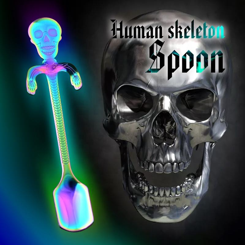 Halloween cutlery 304 gold hanging cup spoon creative modelling promotion wholesale skeleton shape stirrer spoon