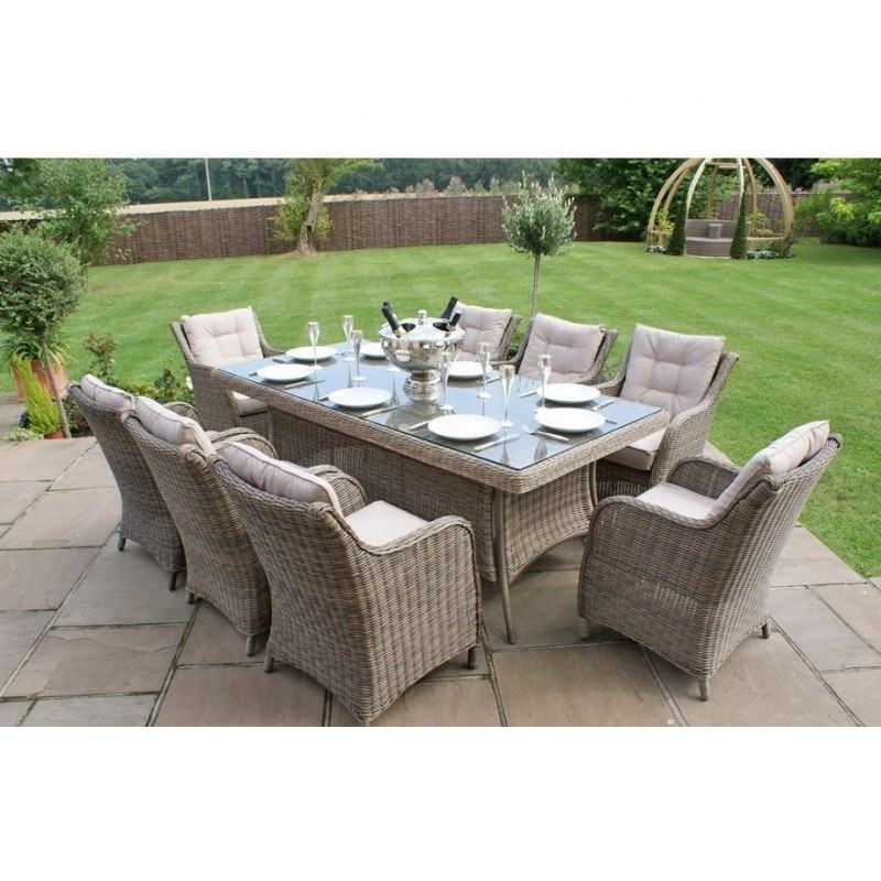 Eight person table glass outdoor garden patio rattan dining sets furniture