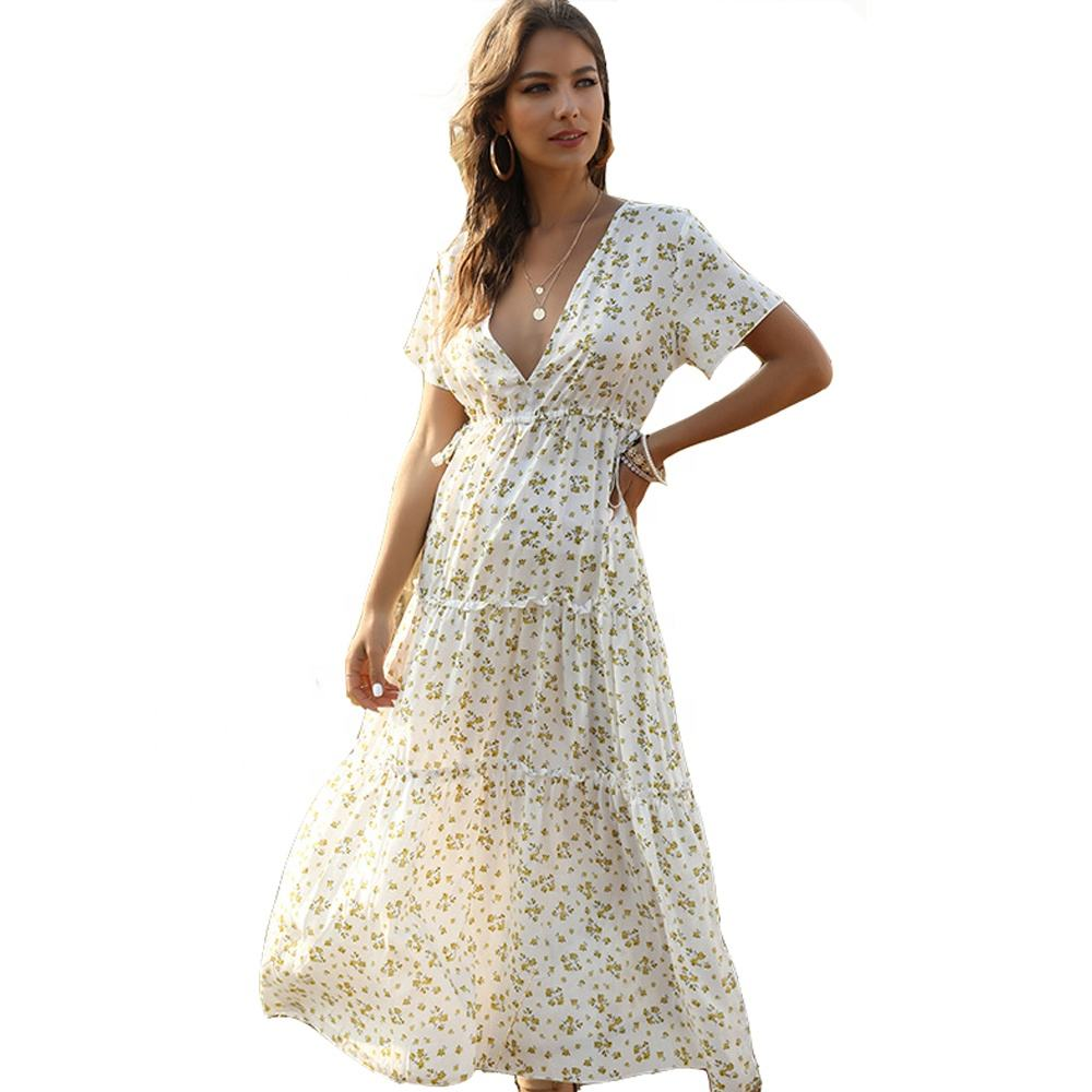 Women 2020 Clothing Summer Long Beach Bohemian Dresses Ladies Short Sleeve V Neck Loose Floral Maxi Casual Boho Shirt Dress