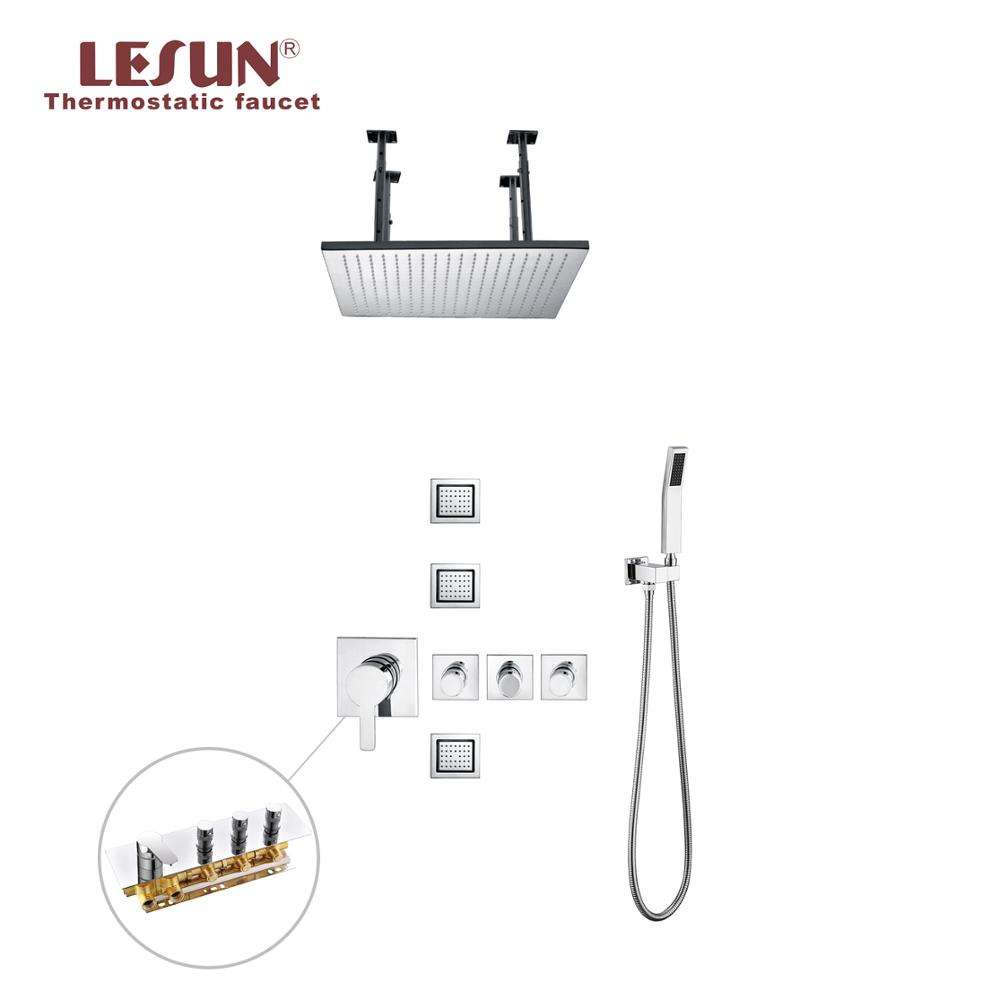 LESUN multi douche mode plafond mural thermostatique ensemble de douche
