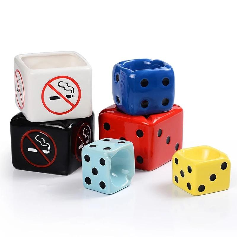 Creative Dice design Ashtray ,Custom hand made pottery Cigarette ashtray , tabletop Ash tray for sale