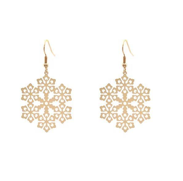 Gold Snowflake Christmas Earrings Simple Accessory For Girls