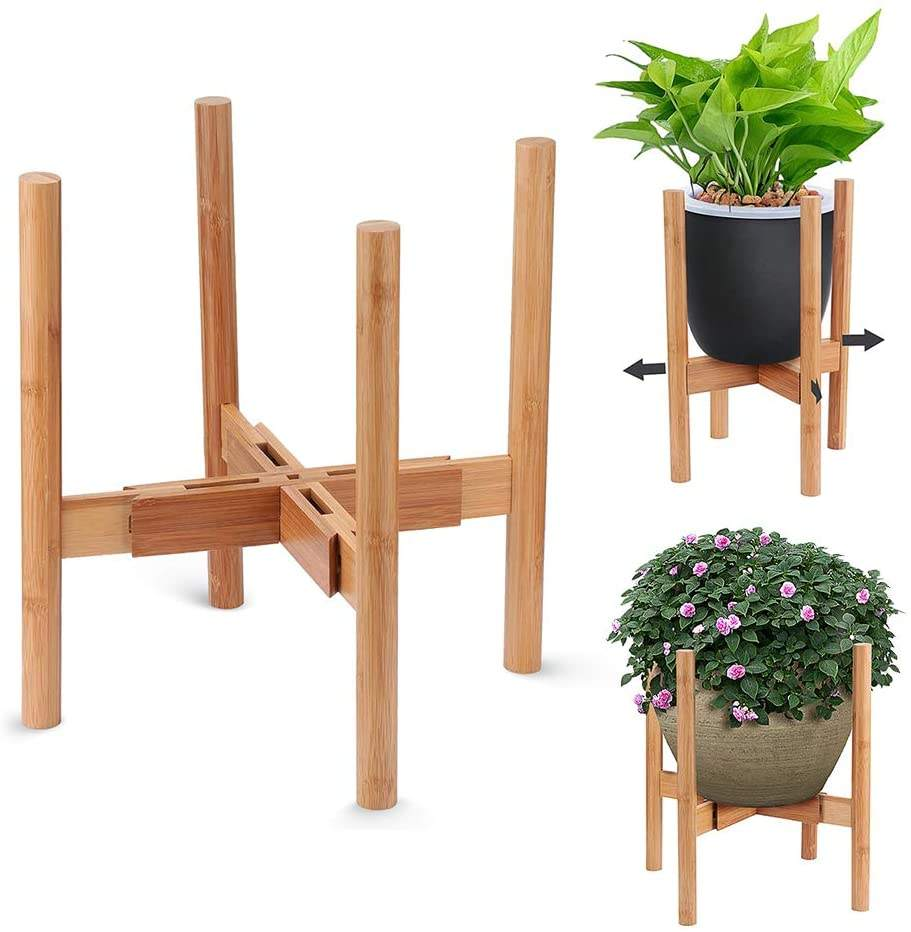 "Adjustable Plant Stand, Mid-Century Bamboo Flower Pot Holder Fits up to 12"" Pots Natural Wood Grain"