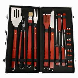 2020 Wholesale Camping Portable Outdoor 18pcs BBQ Tools set Barbecue Accessory Set With Case