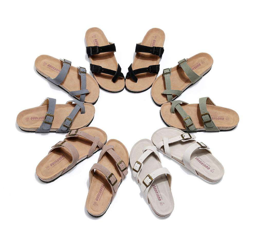 2020 summer new toe flip-flops ladies casual sandals and slippers women's feet non-slip wild flat cork beach shoes