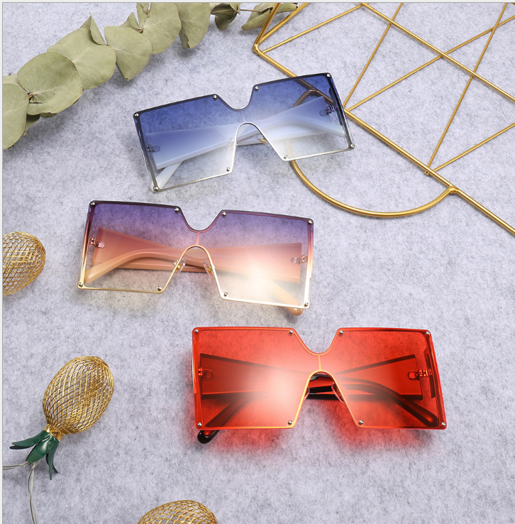 The Most Popular Red Conjoined Large Square Frame Glasses Street Shooting Fashion Comfortable Sunglasses