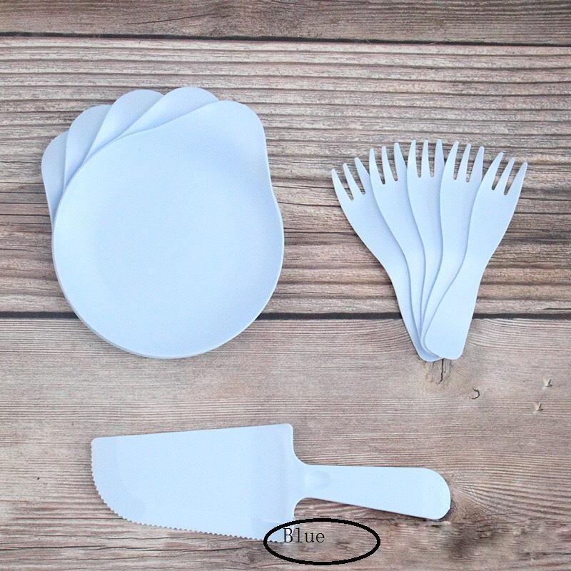 Bandeja de goteo tres en un cuchillo tenedor plato placa <span class=keywords><strong>vajilla</strong></span> conjunto de cubiertos de plástico herramientas de plástico