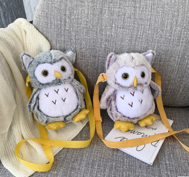 High quality stuffed owl plush backpack school bag toy/girl's gift cute owl coin pocket money bag toy/plush owl purse coin bag