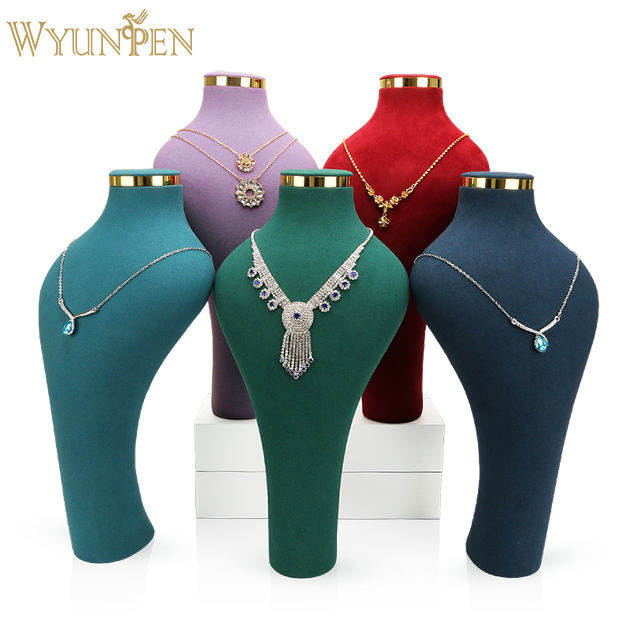 WYP New style Wholesale Custom Luxury Fine Craftsmanship Microfiber Jewelry Necklace Display Bust with Metal Base