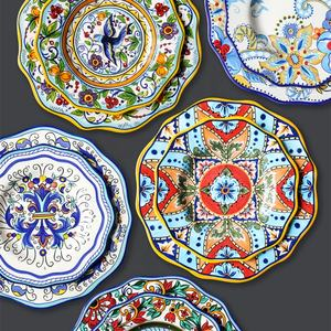 European and American-Style Hand-Painted Ceramic Creative Irregular Western Dish Salad Plate Home Charger Plate Dish