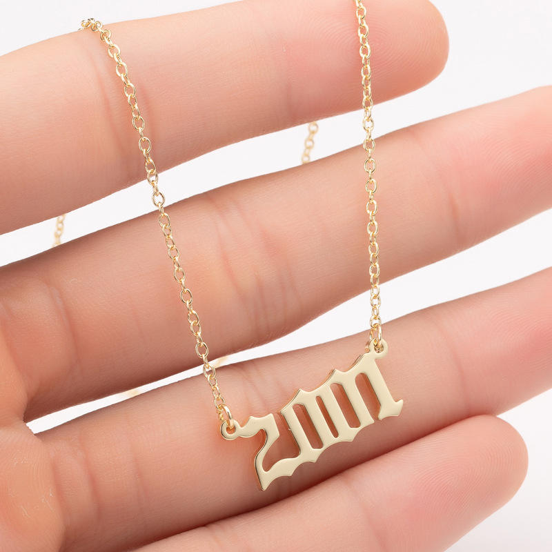 new year gifts 2001-2019 birth year necklace old english font pendant stainless steel number necklace 25*12mm