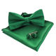 men's 3pcs solid green polyester bow tie and pocket square cufflink set