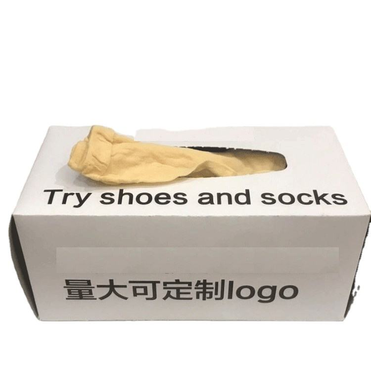 Try On Socks for shoe store Disposable Foot Socks With Box one time socks