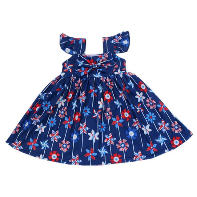 Poco de <span class=keywords><strong>moda</strong></span> de chicas vestido de estampado floral tanque de algodón sin mangas de verano vestido bebé niña vestido casual