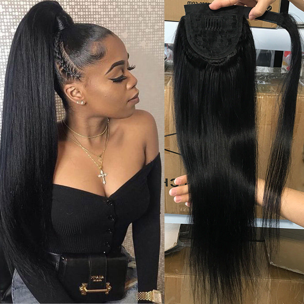 Wholesale 100% human hair ponytails extensions,straight human clip in hair ponytail hair pieces,indian human hair wrap ponytails